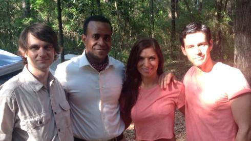 Paul Brittain, Tim Meadows, Sherri Eakin, and Dean West on the set of Nigel & Oscar vs. The Sasquatch